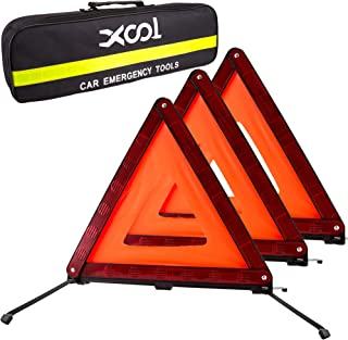 XOOL Triple Warning Triangle Emergency Warning Triangle Reflector Safety Triangle Kit Suitable for Roadside Emergencies, ...