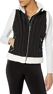 Calvin Klein Women's Polyfill Sunburst Quilt Vest with Sherpa Trim