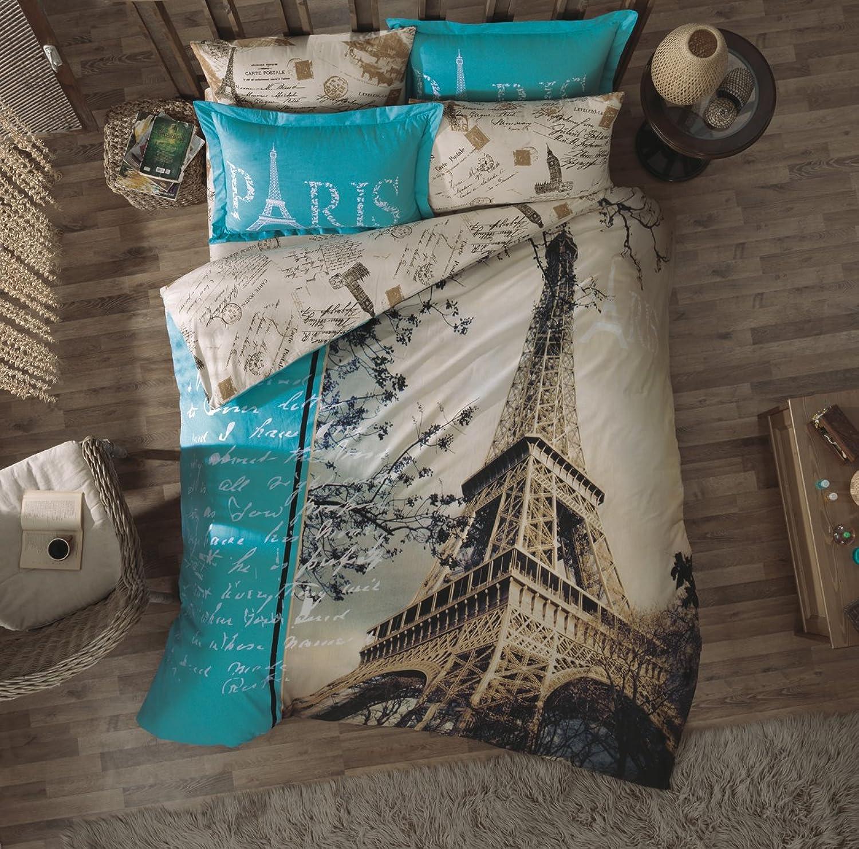 7 Piece Paris Eiffel Tower Themed Bedding Linen Full Queen Size Comforter Set