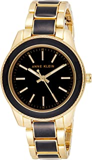 Anne Klein Womens Quartz Watch, Analog Display and Stainless Steel Strap AK3300BKGB