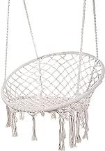 Karriw Hammock Chair Macrame Swing,Cotton Hanging Macrame Hammock Swing Chair Ideal for Indoor, Outdoor, Home,Bedroom, Patio, Deck, Yard, Garden (White)