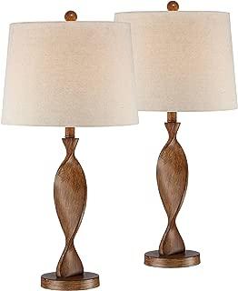 Debra Modern Table Lamps Set of 2 Brown Wood Twist Off White Drum Shade for Living Room Family Bedroom Bedside Nightstand - 360 Lighting