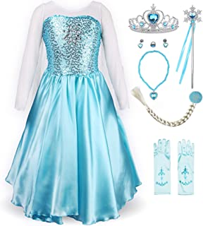 Little Girl Princess Dress Snow Party Queen Halloween Costume Blue with Accessories
