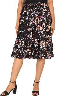 COTTON BREEZE Women's Rayon Midi Skirt