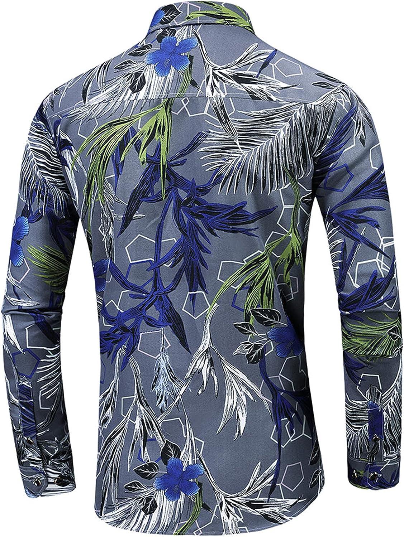 Mens Plus Size Hawaiian Printed Button Up Shirts Long Sleeve Slim Print Dress Shirt Bussiness Lapel Tops L-7XL