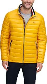 Alalaso Mens Lightweight Puffer Down Casual Pure Color Hooded Warm Cotton Clothing Coat Yellow