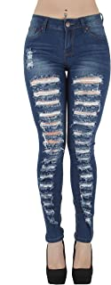 Classic Fashion Destroyed Ripped Plus/Junior Size Skinny Denim Jeans
