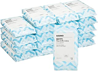 [Amazonブランド] SOLIMO 純水99% ウェットティッシュ メッシュタイプ 60枚入×20個 (1200枚) 日本製 パラベンフリー