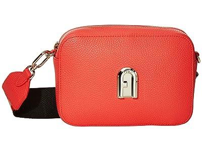 Furla Sleek Mini Camera Case (Fuoco/Toni Nero) Handbags