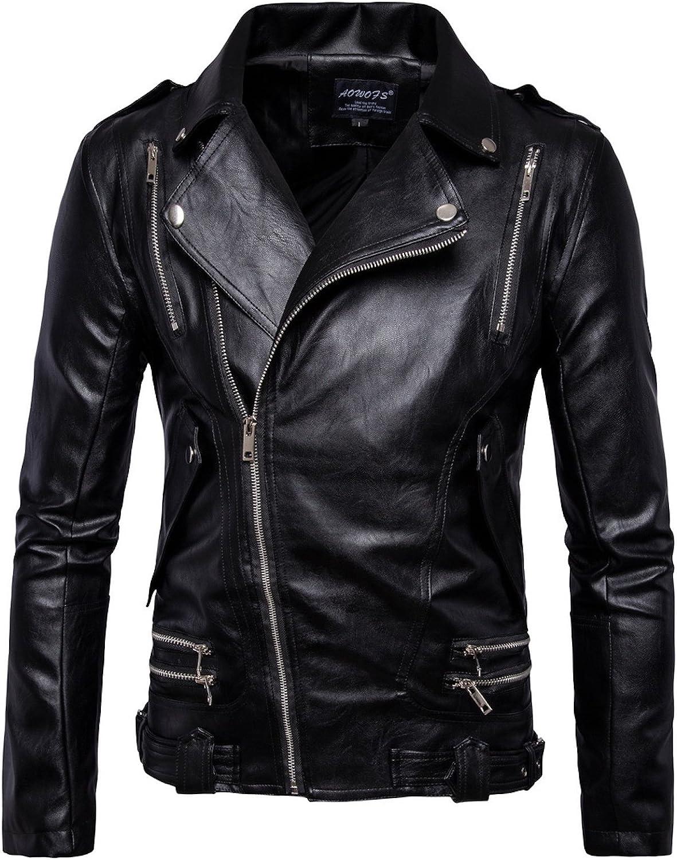 Elonglin Mens Moto Jacket Faux Biker Leather C Bombing new work Washington Mall Motorcycle