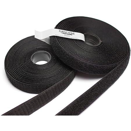 Purovi 5m Klettband Flausch Haken 20mm Breit Zum Aufnähen Schwarz Küche Haushalt