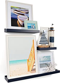 Wallniture Philly 3 Varying Sizes Floating Shelves Trays Bookshelves and Display Bookcase – Modern Wood Shelving for Kids Room and Nursery – Wall Mounted Storage Bathroom Shelf, Navy
