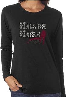 Hell On Heels Funny Rhinestone Long Sleeve Shirts