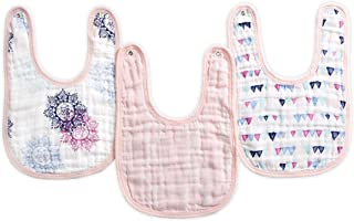 Aden By Aden And Anais Pretty Pink Muslin Snap Bibs, Pink, Pack of 3
