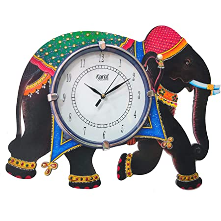 Shiva arts Elephant Design Wooden Wall Clock for Home/Office (12 x 16 inch, Multicolour)