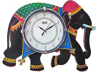 Shiva Arts Unique Elephant Design Handpainted UV Printed Wooden Designer Beautifuland Elegant Ajanta Wall Clock for Home/O...