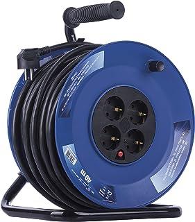 EMOS Kabeltrommel mit verstärktem Kabel, 40 m mit 4 Steckdosen, 2,5 mm Schuko, Indoor Trommel, Schutzklasse IP20 - für Innen