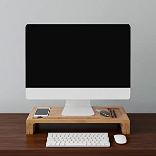 Lavish Home Monitor Stand – Modern Eco-Friendly Bamboo Office Accessories and Desk Organizer Laptop Riser or PC Computer S...