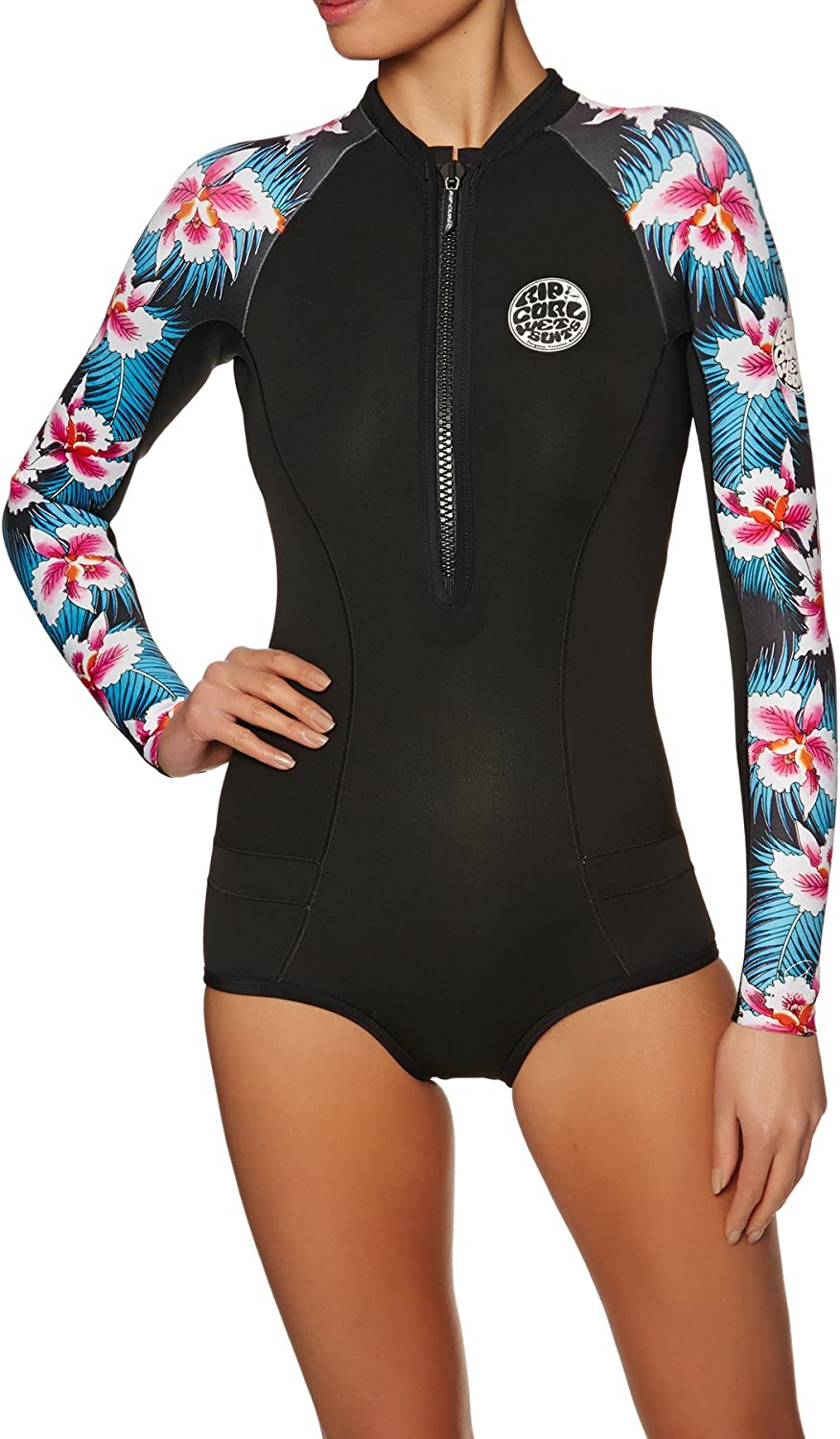 RIP CURL Womens G-Bomb 1MM Ls Front Zip Hi Cut Shorty Wetsuit Wetsuit Black SubEasy Stretch Long Sleeve