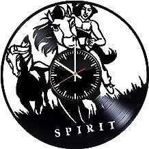Spirit Vinyl Record Clock Stallion of the Cimarron Wall Art Marvel Handmade Clock Spirit Vintage Clock The Lakota village Wall Accessories Birthday Gifts