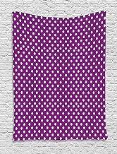 ABAKUHAUS Púrpura Tapiz de Pared, Old Fashioned Puntos Vivid, para el Dormitorio Apto Lavadora y Secadora Estampado Digital, 100 x 150 cm, Blanco Púrpura