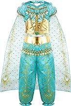 vamei Disfraz Niña Jasmine Princesa Vestido Traje Navidad Regalo Cumpleaños Halloween Cosplay Fiesta Carnaval Disfraz de Niños Vestido de Princesa niños