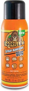 Gorilla Heavy Duty Spray Adhesive, Multipurpose and Repositionable, 11 ounce, Clear, (Pack of 4)