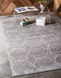 Unique Loom Trellis Frieze Collection Lattice Moroccan Geometric Modern Light Gray Area Rug (4' 0 x 6' 0)
