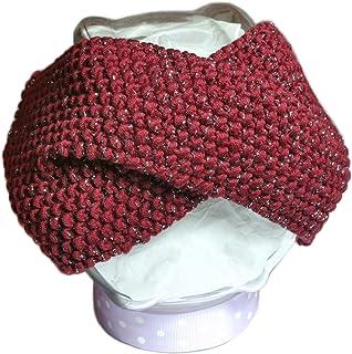 Fascia per capelli da donna. Turbante in lana. Fatto a mano. Lana. Fatto a Maglia. Accessori per capelli lana. Rosso. Arge...