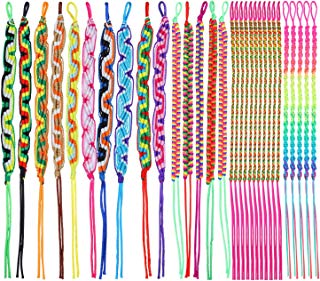 Elcoho Colorful Friendship Bracelets Handmade Mix 30 Pieces Various Styles Woven Bracelets for Wrist Anklet