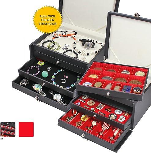 Lindner NERA KABINETT-3, Sammelkassette mit 3 Grün Schubladen für 4 Tableau-Varianten (H  40mm) und 2 Tableau-Farben zur Wahl (2X 105 x 280 mm (individuell), Rot)