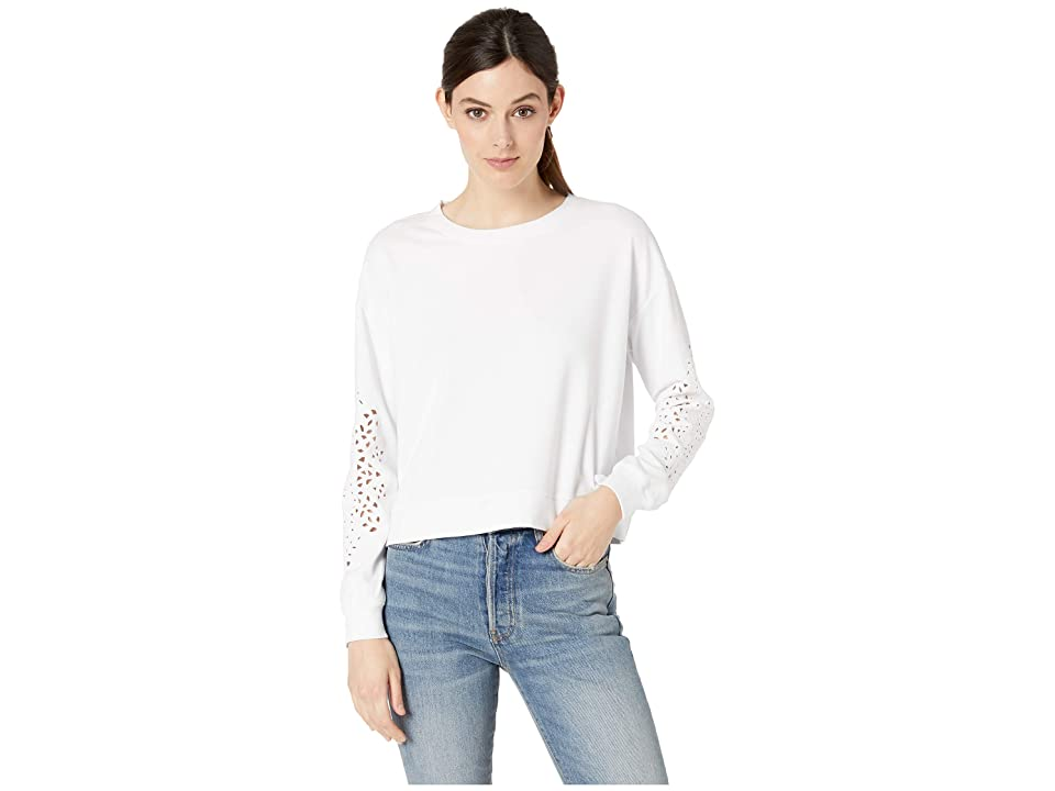 Mod-o-doc Cotton Interlock Sweatshirt with Embroidered Sleeves (White) Women