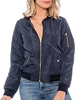 Women's Girl's Classic Quality Military Flight Bomber Jacket Coat with Fur Lining.