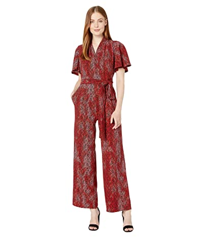 Maggy London Herringbone Printed Crepe Jumpsuit (Pink/Claret) Women