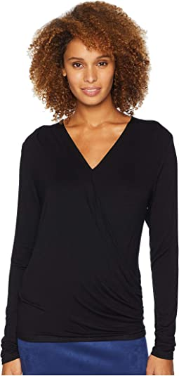 Solid Long Sleeve Wrap Top