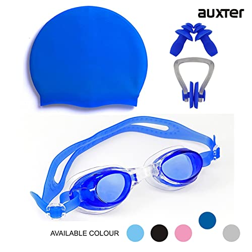Auxter Swimming Kit with Swimming Goggles Silicone Swimming Cap + 1 Nose  Clip + 2 Ear a2d4c1c0b