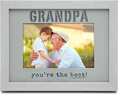 MIMOSA MOMENTS Grandpa Expressions Picture Frame with Color Mat, Wood Finish in Gray (Gray & Light Gray - Grandpa)