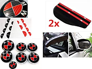 FL Vinyl Black & Red Carbon Fiber Complete Set of Vinyl Sticker Overlay for All BMW Emblems