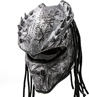 Predator Motorcycle Helmet - DOT Approved - Unisex - Silver Spiked