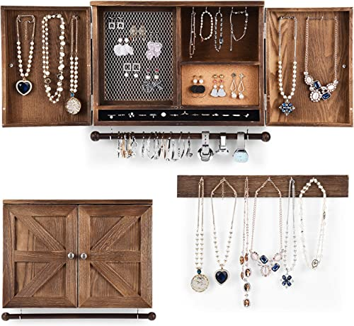 2021 CHARMAID Rustic Jewelry Organizer Cabinet Wall Mounted with Barn Door Decor, Vintage Wooden Hanging Jewelry Holder Box for Earrings, Necklaces, Bracelets and outlet online sale Rings with Additional lowest Hook Organizer online sale