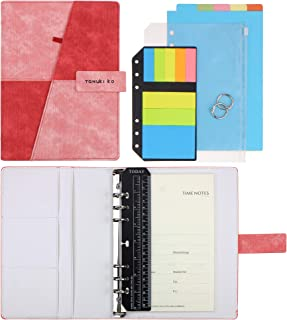 SynLiZy A5 PU Leather Personal Organizer Undated Planner (A5 Red-Pink) 7.36