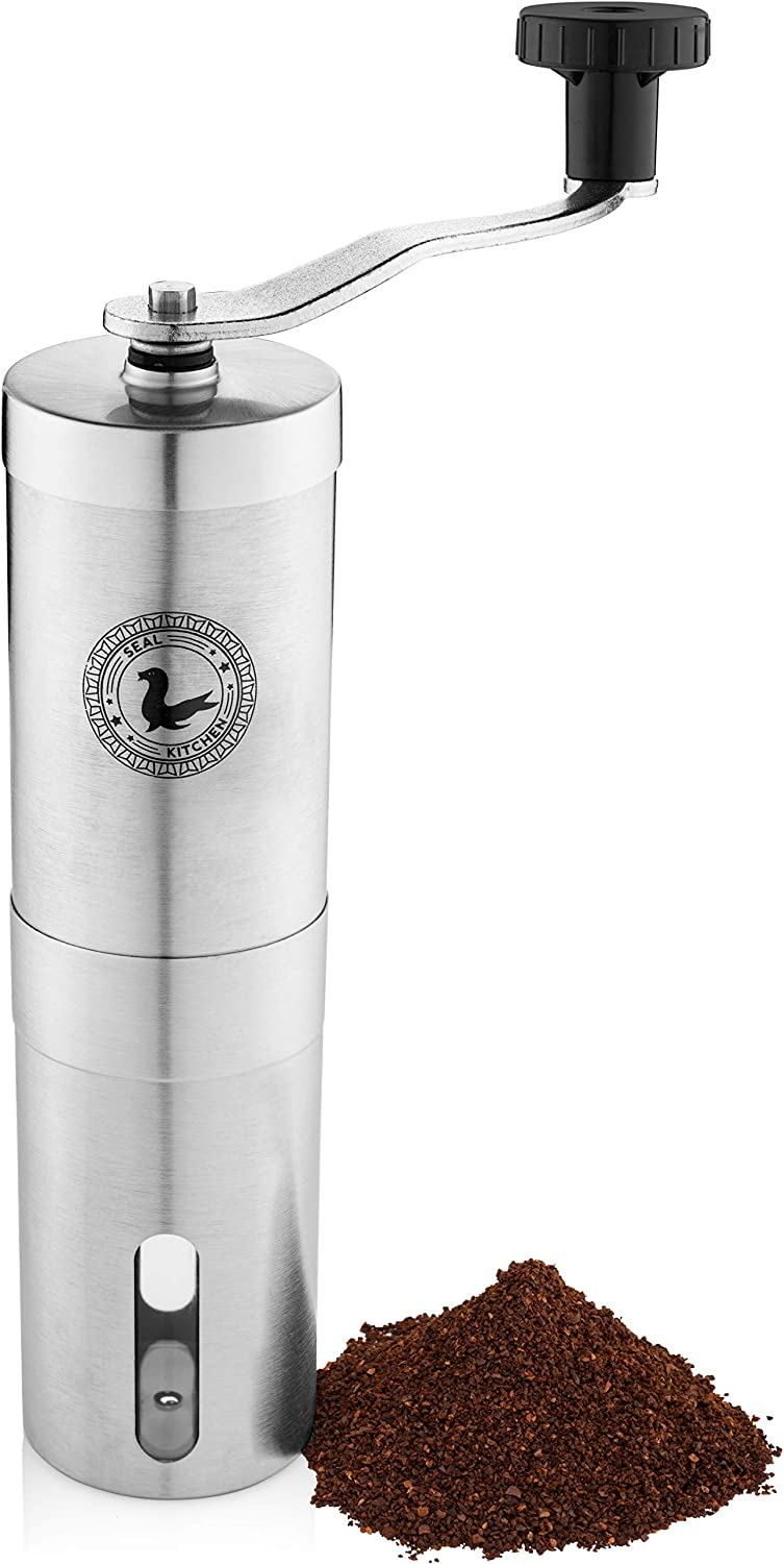 Manual Coffee Grinder Stainless Steel - Hand Coffee Grinder with Ceramic Burr & Adjustable Setting for Espresso French Press AeroPress - Durable Hand Crank & Conical Burr for Consistent Grind