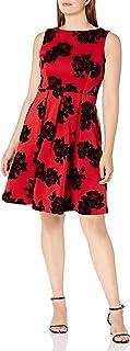 فستان نسائي من Sandra Darren بدون أكمام مصنوع من قماش كريب سكوبا وقطيفة ملائمة وواسعة
