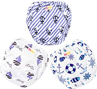 Pedobi Reusable Baby Swim Diapers, Adjustable Diaper Swim for Toddlers 9 months - 3 years old, 3 Pack for Swimming Lessons (Anchor, Large)
