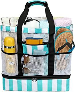 CAMTOP Beach Bag Mesh Beach Tote with Cooler Compartment Oversized Toy Tote Bag with Zipper and Pockets Family Travel Pool Bag for Beach, Picnic(Turquoise)
