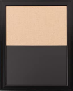 DesignOvation Bosc Combination Magnetic Chalkboard and Fabric Pinboard, Black