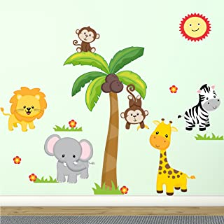 """Jungle Wall Decal Fabric Wall Stickers Safari Nursery Wall Decal 100% Polyester Fabric, UL Greenguard Certified for Low Chemical Emissions, Great Shower Gift 60"""" - Peel and Stick"""