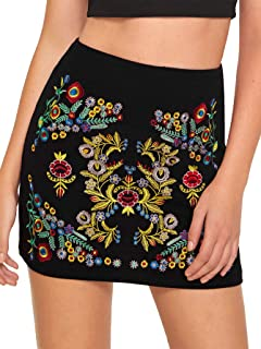 Women's Casual Floral Embroidered Bodycon Short Mini Skirt