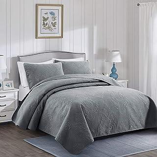 PU MEI 3-Piece Lightweight Bedspread Quilt Set,Comforter Bedding Coverlet Sets,Queen Size,Grey