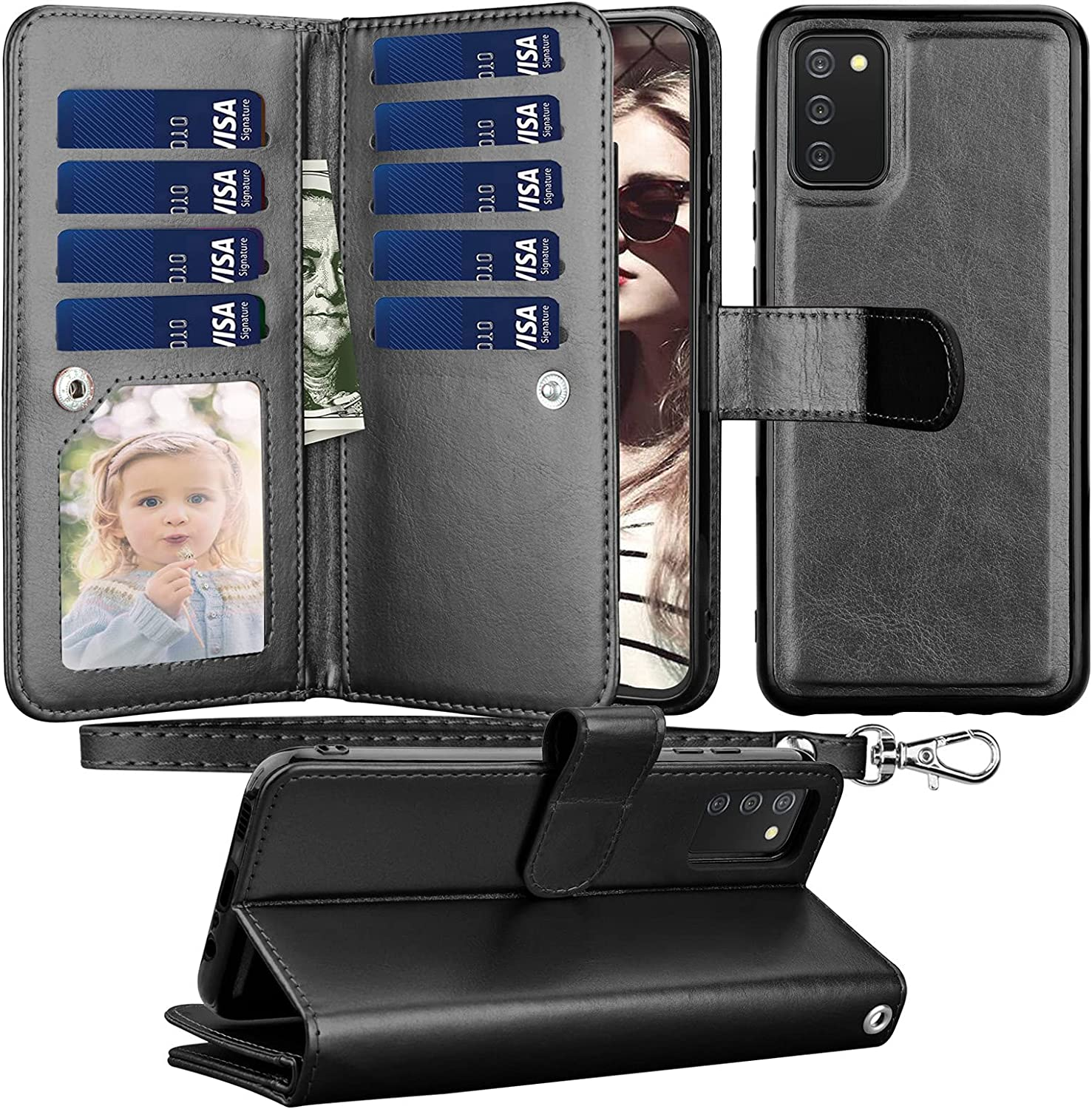 Thejex Galaxy A02S Case, for Samsung Galaxy A02S Wallet Case, PU Leather ID Credit Card Slots Holder Folio Flip [Detachable] Kickstand Magnetic Phone Cover & Lanyard for Samsung A02S 2021 -Black